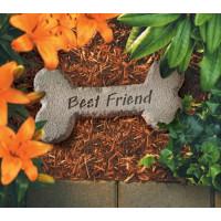 Dog Bone w/ Best Friend Pet Memorial Garden Stone