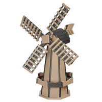 Medium Poly Garden Windmill - Weatherwood & Black
