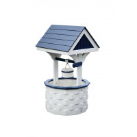 Large Poly Wood Wishing Well - White & Patriot Blue