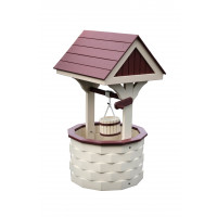 Medium Poly Wood Wishing Well - Ivory & Cherrywood