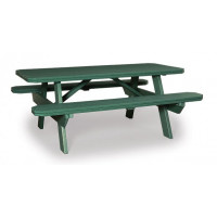 3' x 6' Poly Picnic Table with Attached Benches