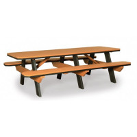 3' x 8' Poly Picnic Table with Attached Benches - Cedar & Black