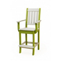 Keystone Poly Bar Chair w/ Arms - Gray & Lime Green