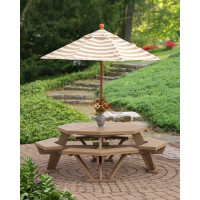 "52"" Poly Octagon Table with Benches Attached - Weatherwood"