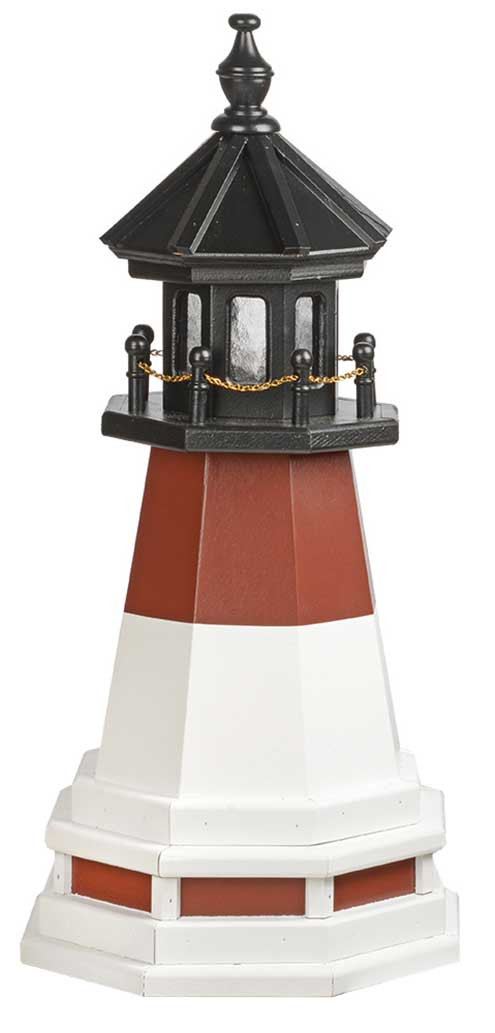 2'' Amish Crafted Wood Garden Lighthouse w/ Base - Barnegat  - Cherrywood & White