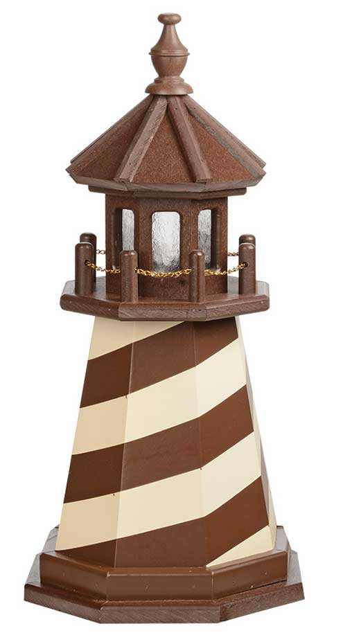 2' Amish Crafted Wood Garden Lighthouse - Cape Hatteras - Brown & Ivory