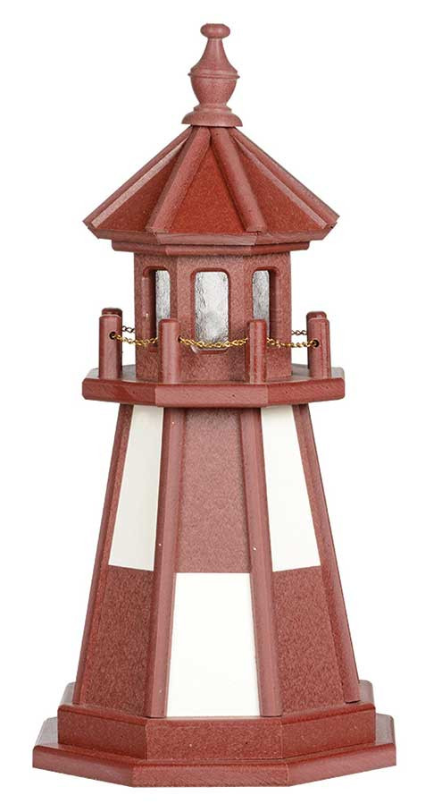 2' Amish Crafted Wood Garden Lighthouse - Cape Henry - Cherrywood & White