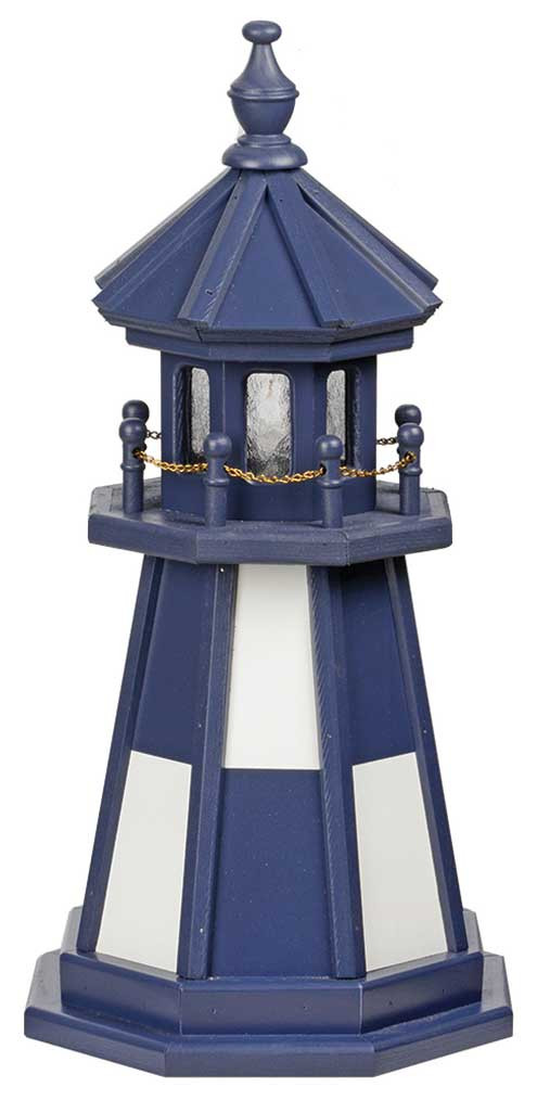 2' Amish Crafted Wood Garden Lighthouse - Cape Henry - Patriot Blue & White