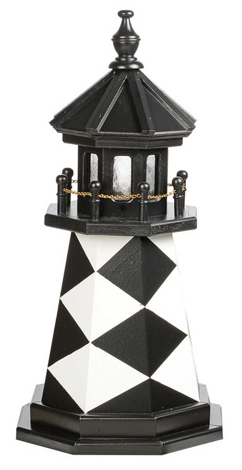 2' Amish Crafted Wood Garden Lighthouse - Cape Lookout - Black & White