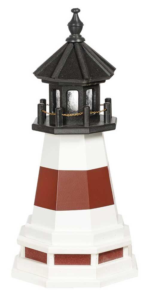 2' Amish Crafted Hybrid Garden Lighthouse - Montauk - Cherrywood & White