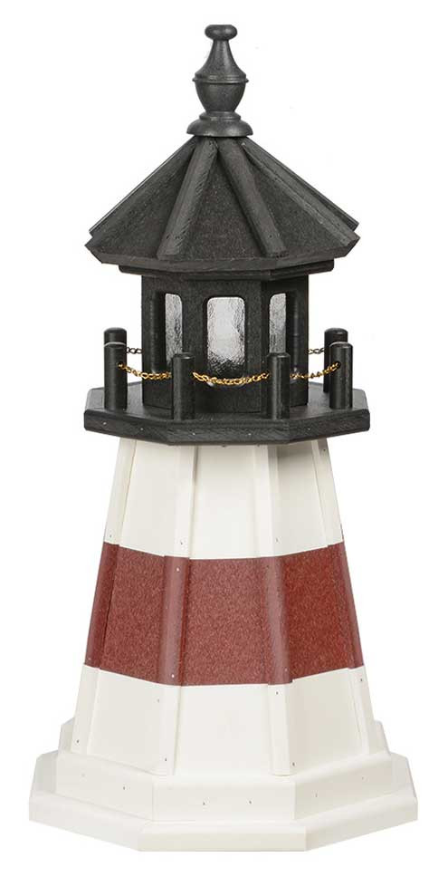 2' Amish Crafted Wood Garden Lighthouse - Montauk - White & Cherrywood