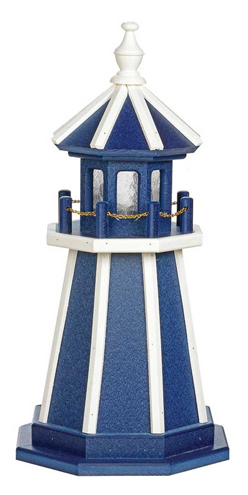 2' Amish Crafted Wood Garden Lighthouse - Custom Painted - Patriot Blue & White