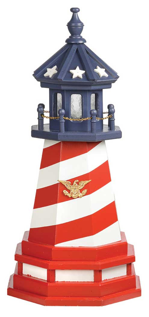 2' Amish Crafted Hybrid Garden Lighthouse - Patriotic Cape Hatteras