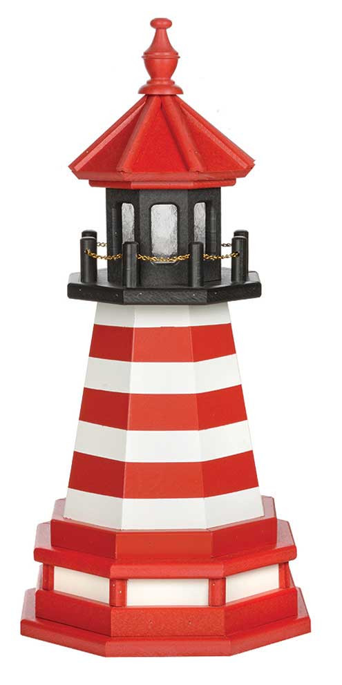 2' Amish Crafted Hybrid Garden Lighthouse - West Quoddy - Cardinal Red & White