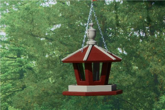 Hanging Gazebo Bird Feeder - Red & Clay
