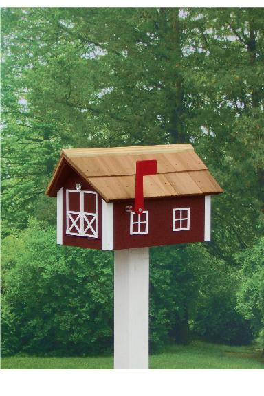 Traditional Dutch Barn Mailbox - Red & White