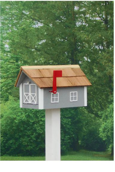 Traditional Dutch Barn Mailbox - Cape Cod Gray & White