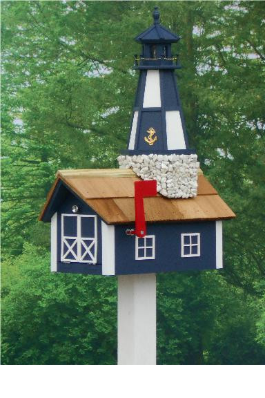 Traditional Lighthouse Mailbox - Navy Cape Henry