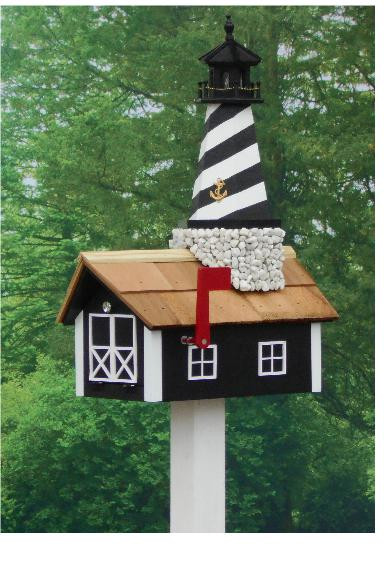 Traditional Lighthouse Mailbox - Black Cape Hatteras