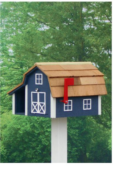 Traditional Barn Mailbox Combo - Navy & White