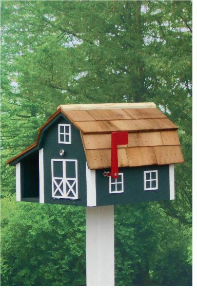 Traditional Barn Mailbox Combo - Hunter & White