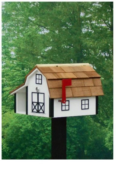 Traditional Barn Mailbox Combo - White & Black