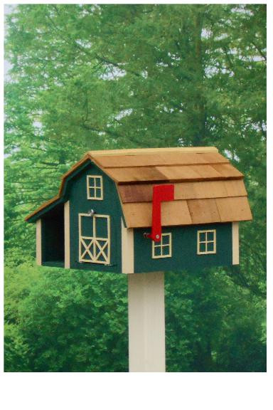 Traditional Barn Mailbox Combo - Hunter & Beige