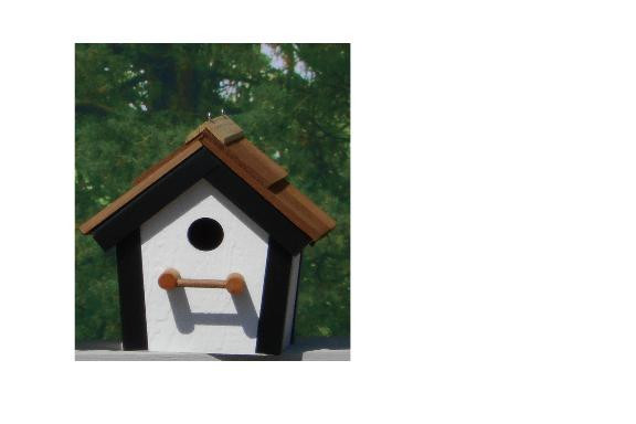 Cedar Roof Birdhouse - White & Black