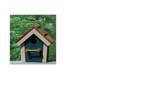 Cedar Roof Birdhouse - Hunter Green & Beige