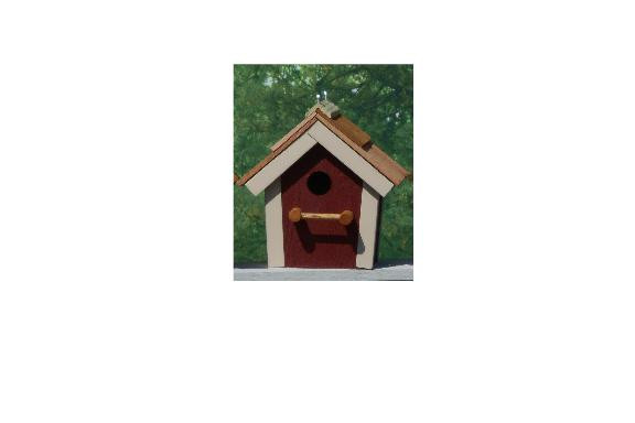 Cedar Roof Birdhouse - Red & Beige