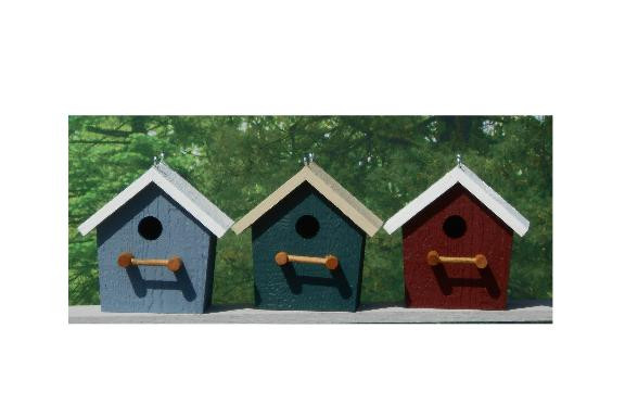 Plain Birdhouse - Belmont Blue & White, Hunter Green & Beige, Red & White