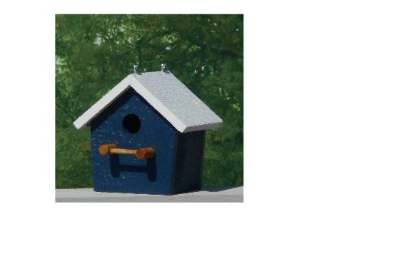 Plain Birdhouse - Navy & White