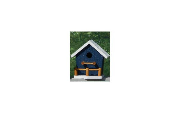 Birdhouse with Porch - Navy & White