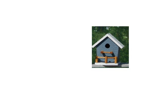 Birdhouse with Porch - Blue & White