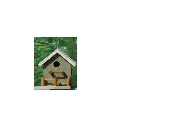 Birdhouse with Porch - Wildgrasses & Off White
