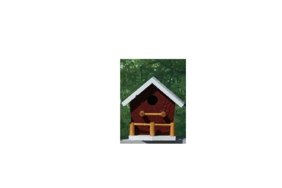 Birdhouse with Porch - Red & White
