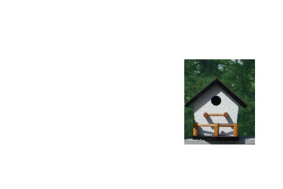 Birdhouse with Porch - White & Black