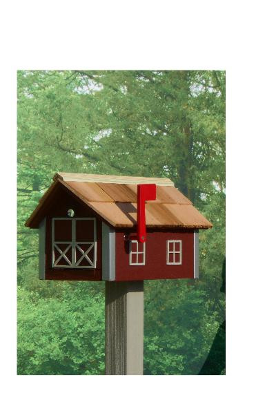 Traditional Dutch Barn Mailbox - Red & Clay