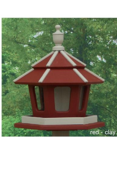 3 Compartment Bird Feeder - Red & Clay