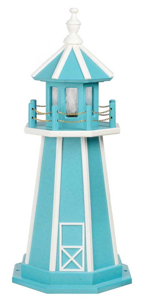 3' Amish Crafted Wood Garden Lighthouse - Custom Painted - Aruba Blue & White