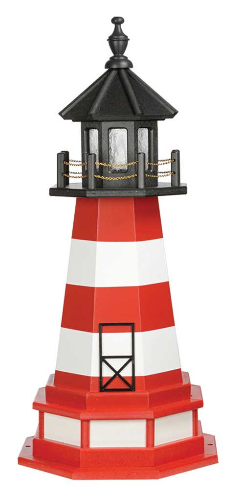 3' Amish Crafted Wood Garden Lighthouse w/ Base - Assateague - Cardinal Red & White
