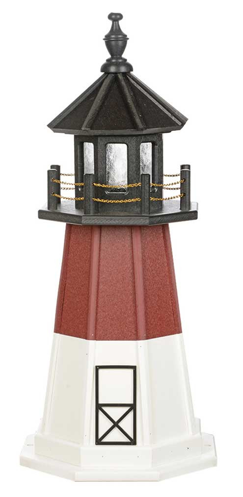 3' Amish Crafted Wood Garden Lighthouse - Barnegat  - Cherrywood & White