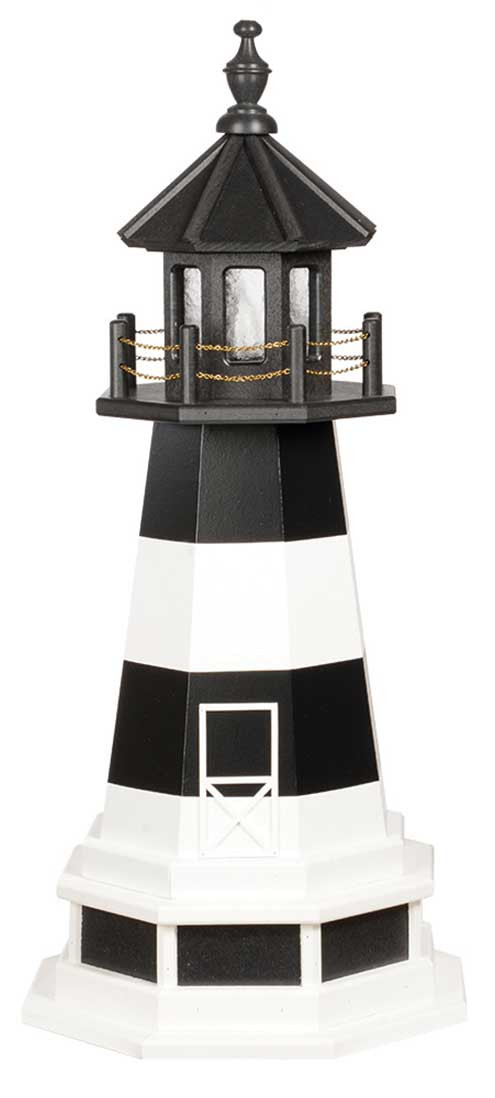 3' Amish Crafted Wood Garden Lighthouse w/ Base - Bodie Island - Black & White
