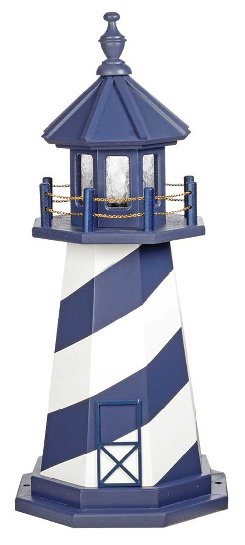 3' Amish Crafted Wood Garden Lighthouse - Cape Hatteras - Patriot Blue & White