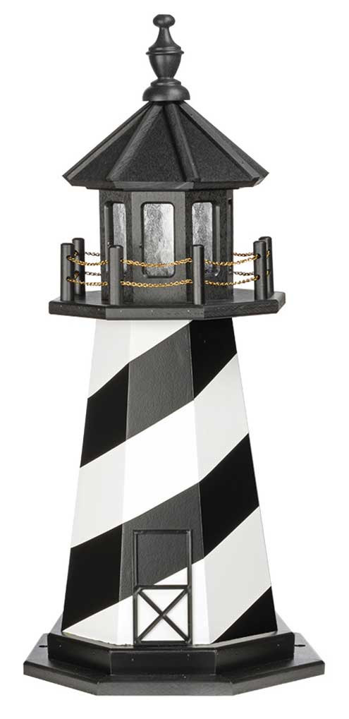 3' Amish Crafted Wood Garden Lighthouse - Cape Hatteras - Black & White