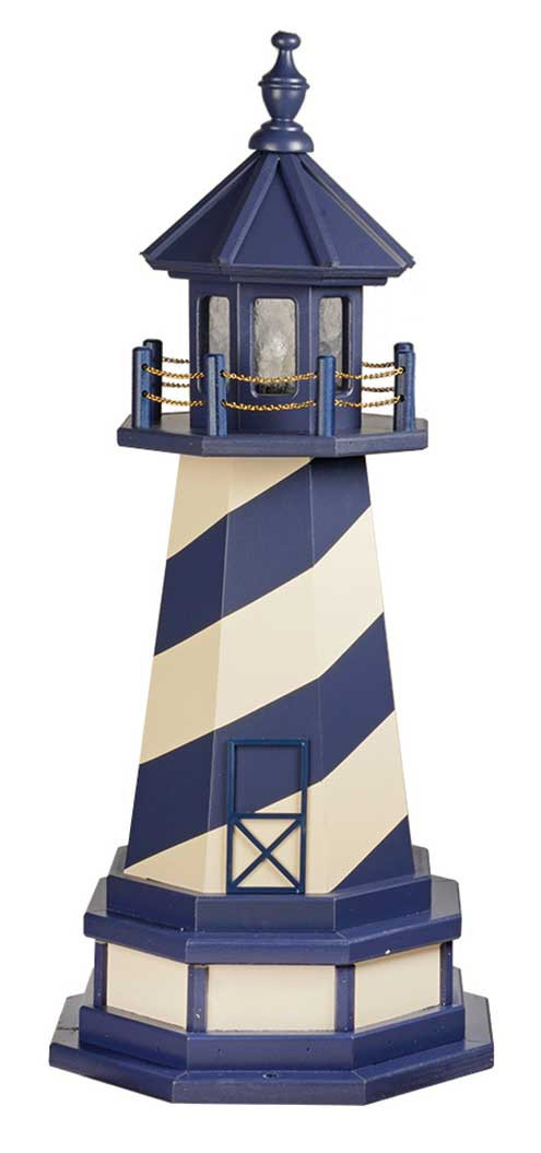 3' Amish Crafted Wood Garden Lighthouse w/ Base - Cape Hatteras - Patriot Blue & Ivory