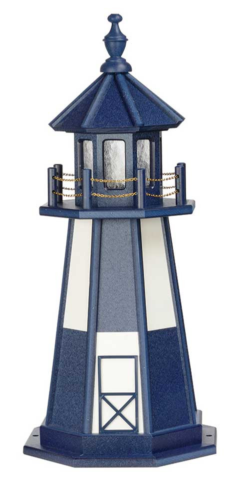 3' Amish Crafted Wood Garden Lighthouse - Cape Henry - Patriot Blue & White
