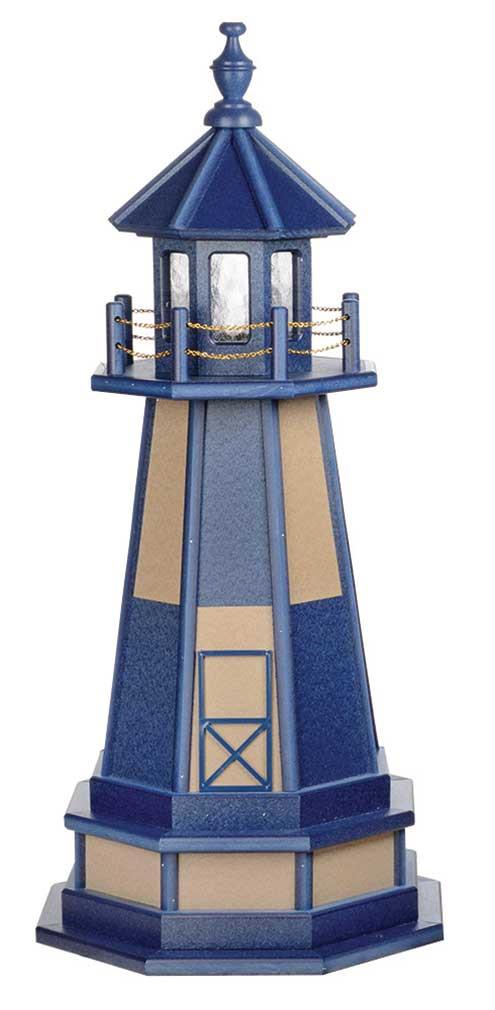 3' Amish Crafted Wood Garden Lighthouse w/ Base - Cape Henry - Patriot Blue & Weatherwood