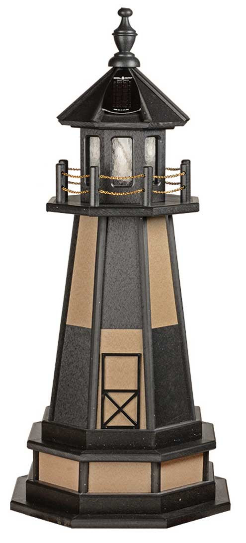 3' Amish Crafted Wood Garden Lighthouse w/ Base - Cape Henry - Black & Weatherwood
