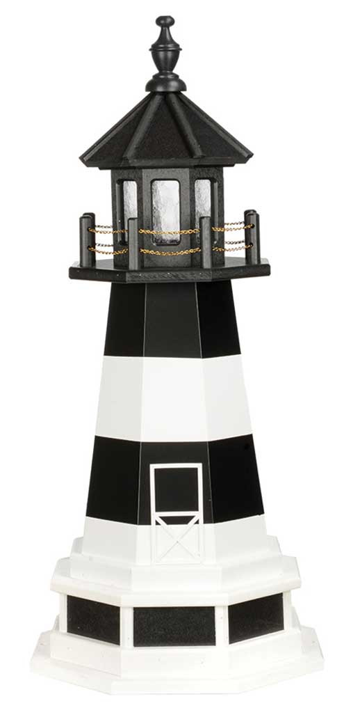 3' Amish Crafted Wood Garden Lighthouse w/ Base - Fire Island - Black & White